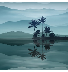 Background with sea and palm trees at night vector image