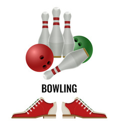bowling club logo design of equipment for play and vector image vector image