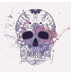 Day of the Dead skull with ornament and w vector image