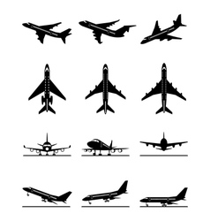Different passenger aircrafts in flight vector image