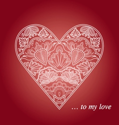Floral and lace heart vector image vector image
