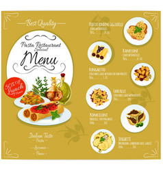 Pasta menu card template vector