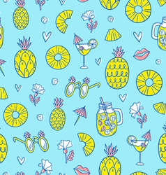 Pineapple mood pattern on blue background vector image vector image