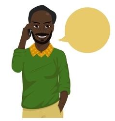 african american hipster man talking on smartphone vector image vector image