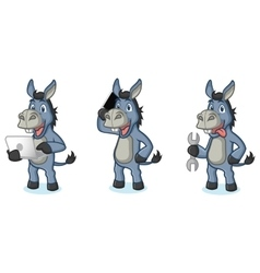 Blue Donkey Mascot with laptop vector image vector image
