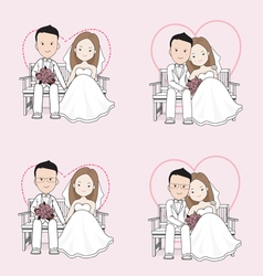 Married cute wedding cartoon vector image vector image