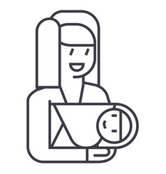 mother with newborn line icon sign vector image