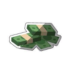 bundles of money piled up vector image