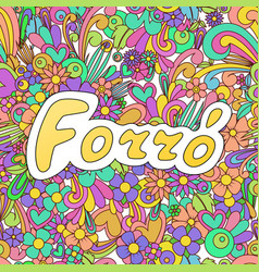 Forro zen tangle doodle dance background with vector