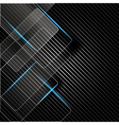 Metallic background with carbon texture vector