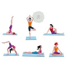 Women Practicing Yoga vector image vector image