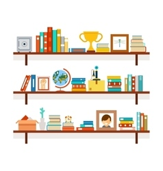 Bookshelves with books and cactus in pot vector image vector image