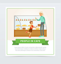 confectionery shop with visitors people in cafe vector image vector image
