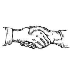 handshake engraving vector image