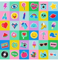Pop art fashion chic patches pins and stickers vector image vector image