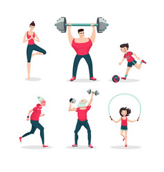 sport family cartoon people icon set vector image