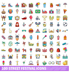 100 street festival icons set cartoon style vector