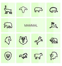 14 mammal icons vector
