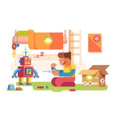 a boy control robot vector image