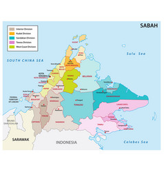 administrative map sabah malaysia vector image