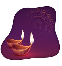 beautiful happy diwali diya abstract background vector image