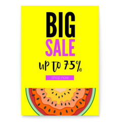 Big sale bright poster with half past of vector