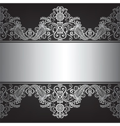 Black ackground with silver ornament vector image