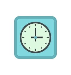 Blue table clock icon flat style vector