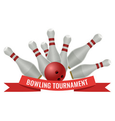 bowling tournament logo design of strike made by vector image vector image
