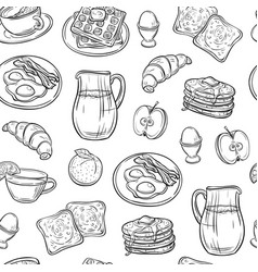 Breakfast doodle pattern pancakes jam cheese vector