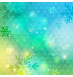 Bright green background with bokeh and snowflakes vector