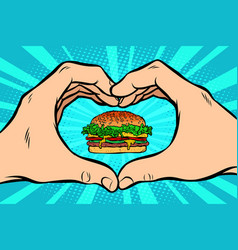 Burger hand gesture heart vector