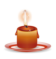 Burning down candle on a plate vector