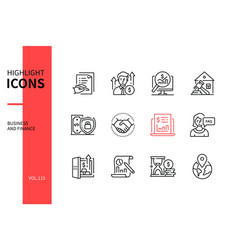 business and finance - line design style icons set vector image