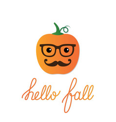 card with a cartoon pumpkin vector image