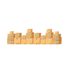 cardboard boxes set on white background isolated vector image