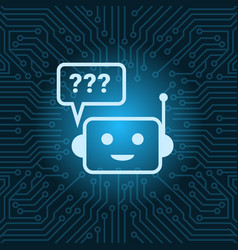 Chat bot face icon with question mark robot over vector