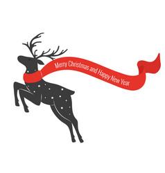 christmas deer with scarf deer in jumping merry vector image