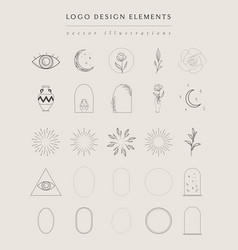 collection hand drawn logo element frames vector image