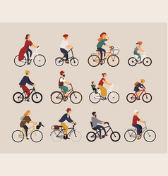 Collection of people riding bicycles of various vector