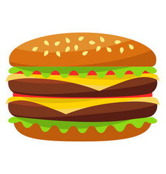 colorful burger hamburger cheeseburger fast food vector image