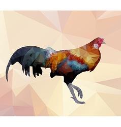 Colorful cock polygon walking on polygon backgroun vector image