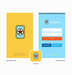 Company card game splash screen and login page vector