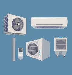 conditioner set air condition wind system vector image