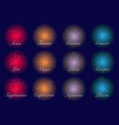 constellations set collection 12 zodiac signs vector image