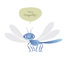 Cute dragonfly isolated on white background vector