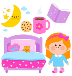 cute girl getting ready for bed at night vector image