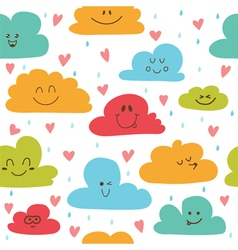 Cute hand drawn seamless pattern with clouds drops vector image