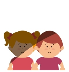 Cute kids couple icon vector