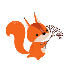 Cute red squirrel with bushy tail carrying tree vector